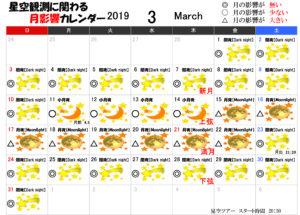 星空観測に関わる月影響カレンダー3月2019年