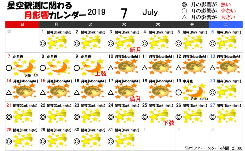 星空観測に関わる月影響カレンダー7月2019年