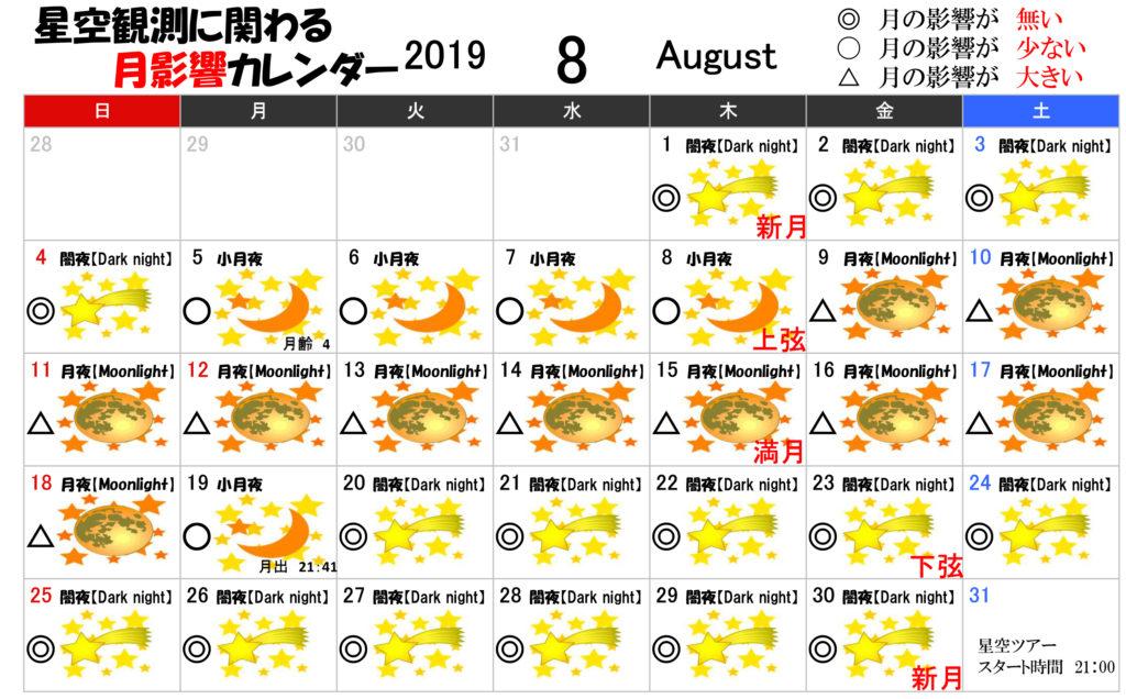 星空観測に関わる月影響カレンダー8月2019年