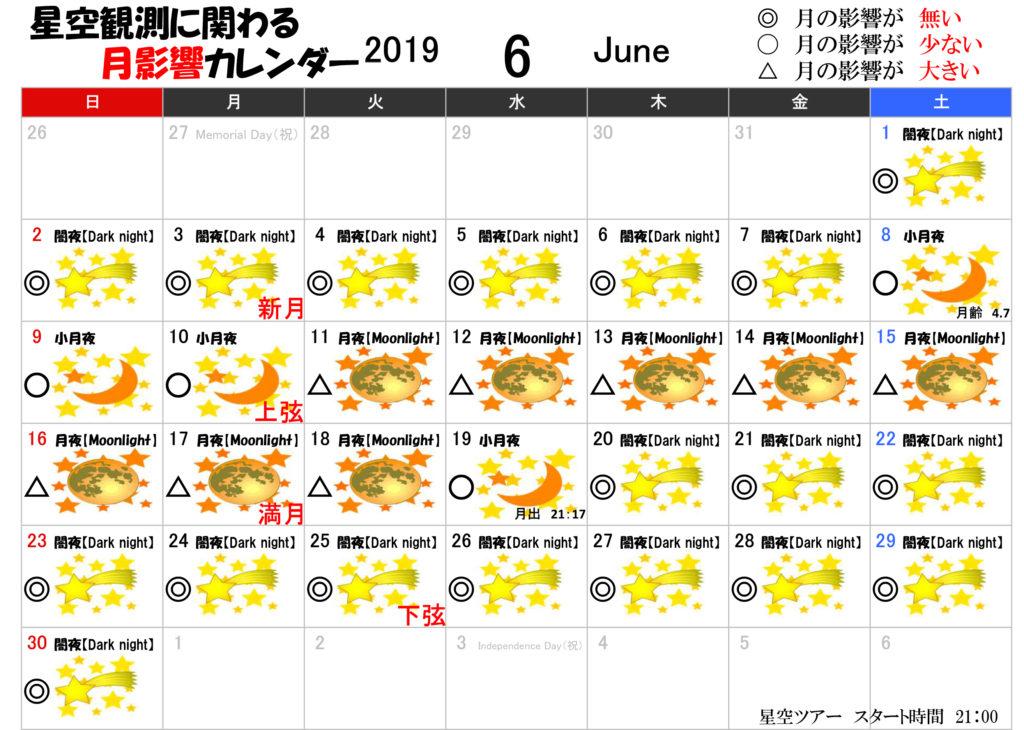 星空観測に関わる月影響カレンダー6月2019年