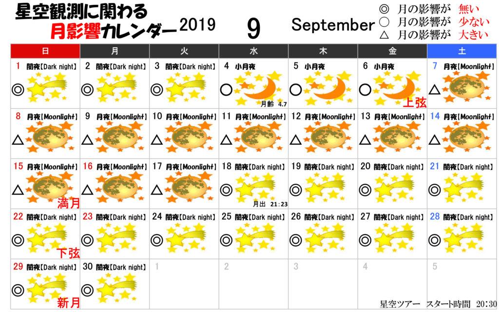 星空観測に関わる月影響カレンダー9月2019年